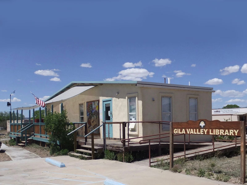 This image shows the side/front view of the gila valley public Library